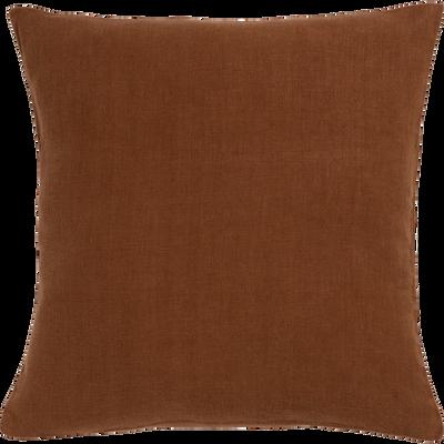 Coussin en lin lavé brun albe 45x45cm-VENCE