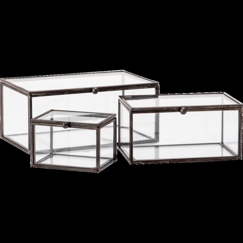 Boîte de rangement en verre noire 13x8x6cm-ASTER