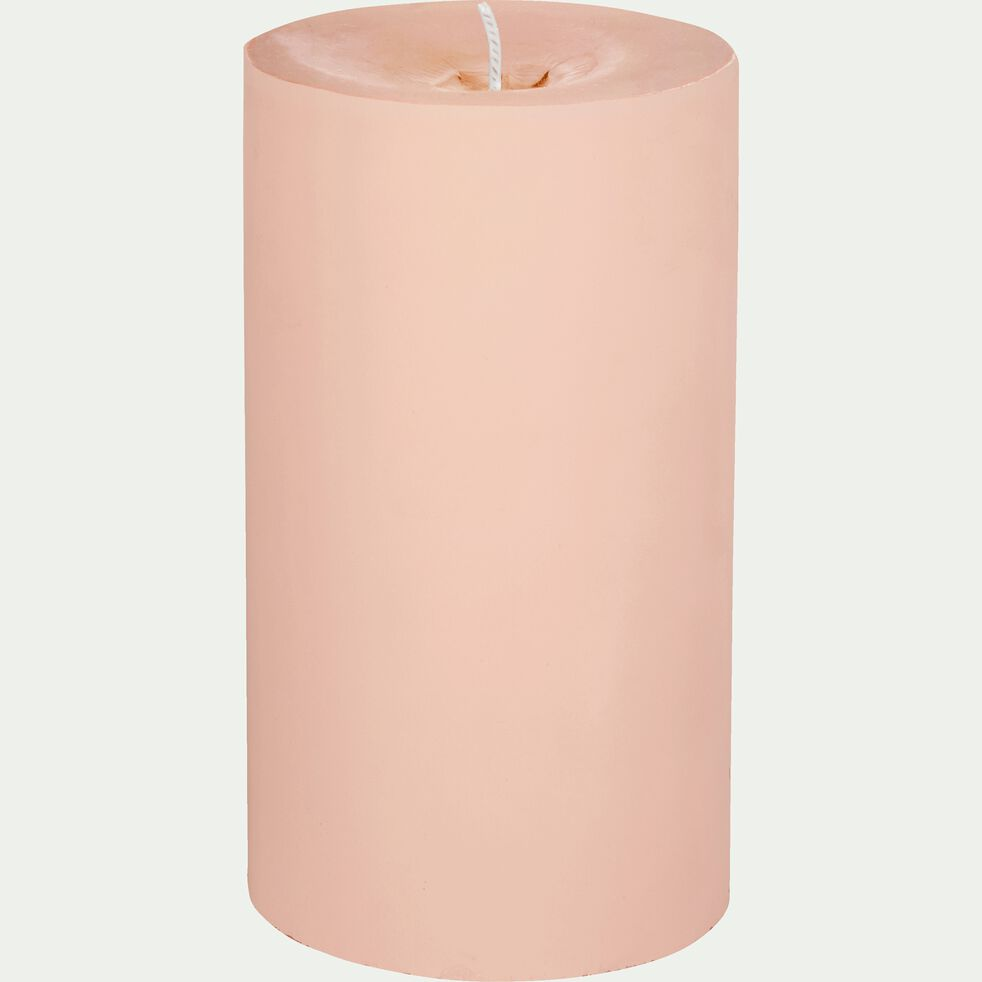 Bougie cylindrique mate - rose H12cm-RIGUEL
