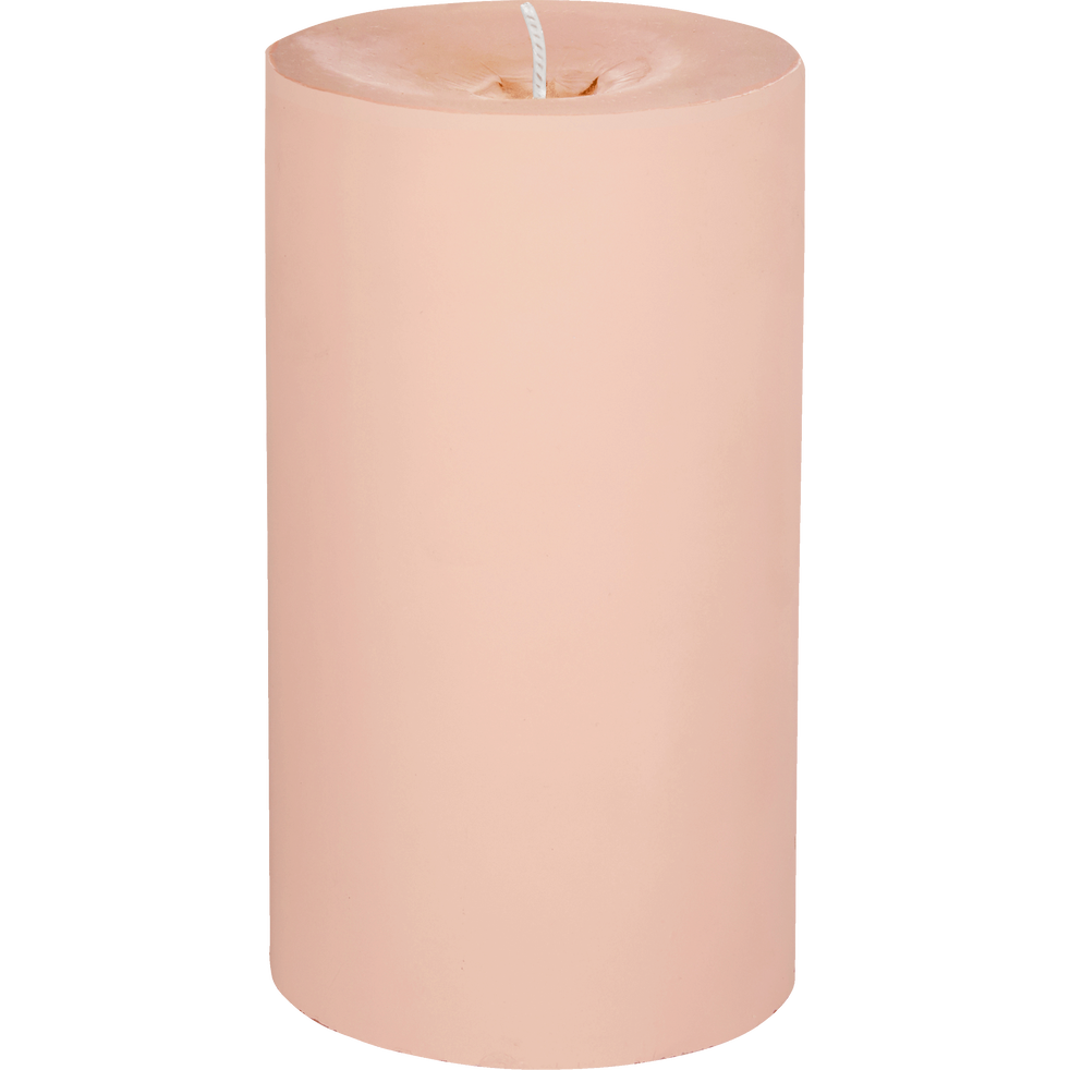 Bougie mate rose D7xH12cm-RIGUEL