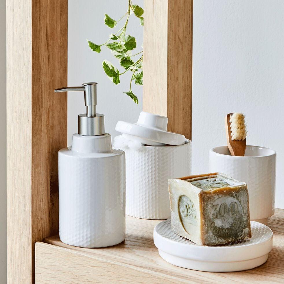 Pot à coton en céramique - blanc ventoux H13,5cm-Ghibo