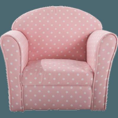 Fauteuil club rose motif pois pour enfant-CLUBBY