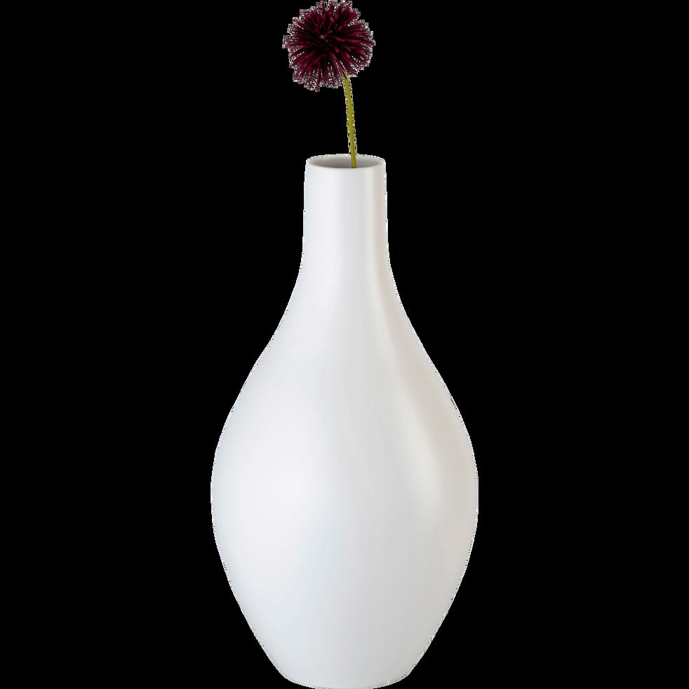 Vase en céramique blanc ventoux D27xH62cm-DOLIA