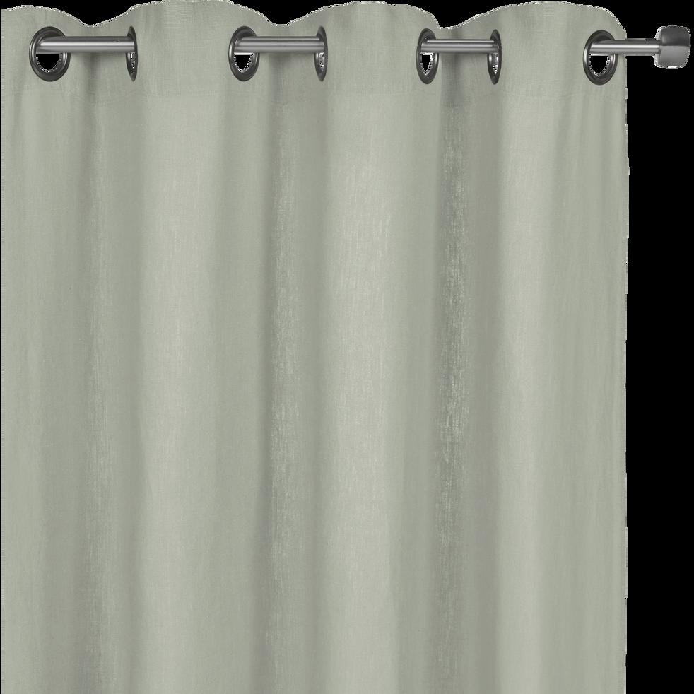 Rideau A Oeillets En Lin Lave Vert Olivier 140x280cm Vence Alinea
