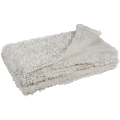 Jeté de lit imitation fourrure blanc 180x220cm-ELEC