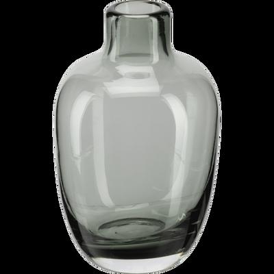 Vase bouteille en verre vert cèdre H10 cm-TAPHOS