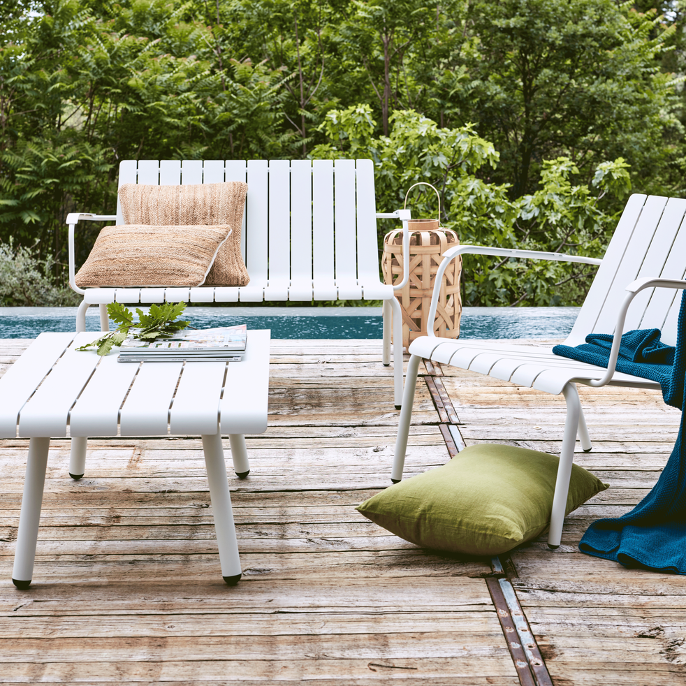 Fauteuil de jardin aluminium blanc paradou fauteuils de jardin alinea - Canape jardin aluminium ...