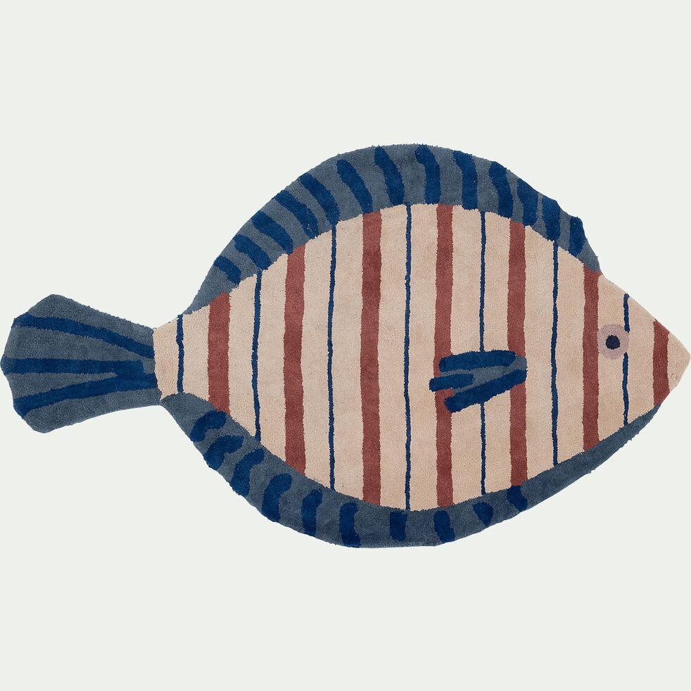 Tapis enfant tufté forme poisson 90x150cm - multicolore-Valso