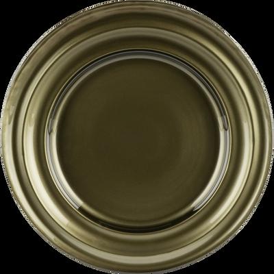 Assiette à dessert en verre vert D23,4cm-LISA