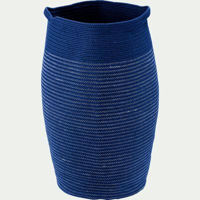Panier à linge en coton bleu figuerolles D35xH65cm-Vincent