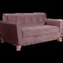 Canapé 3 places fixe en velours rose-VICKY