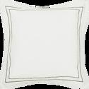 Coussin en coton brodé blanc et noir 45x45 cm-GALLIA