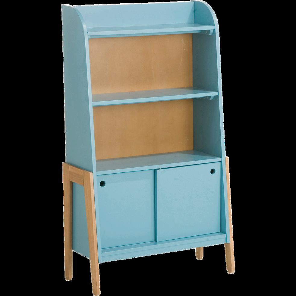 Bibliothèque en acacia pour enfant bleu-RAPHAEL
