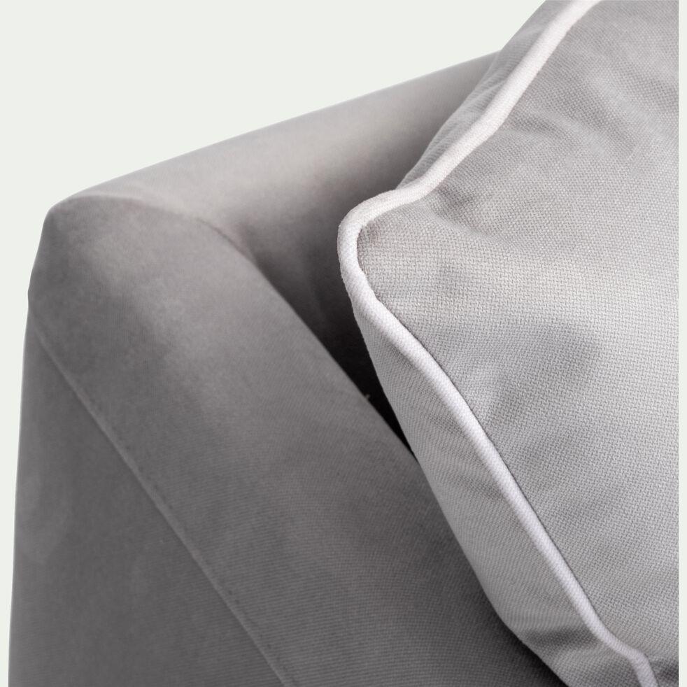 Canapé 3 places fixe en tissu - gris borie-ASTELLO