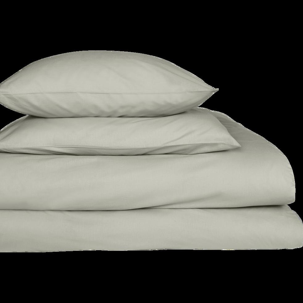 drap housse en coton vert olivier 90x200cm bonnet 25cm calanques 90x200 cm alinea. Black Bedroom Furniture Sets. Home Design Ideas