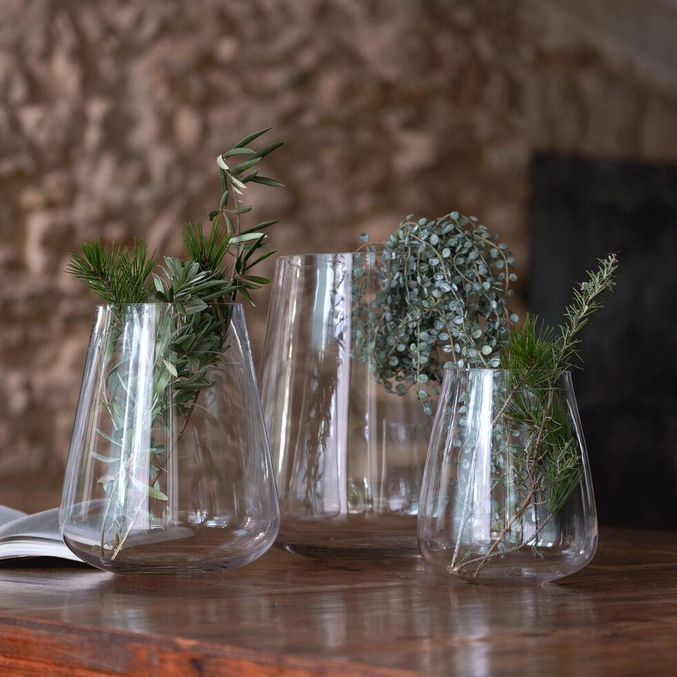 Vase obus en verre épais - transparent H28cm-BALAN
