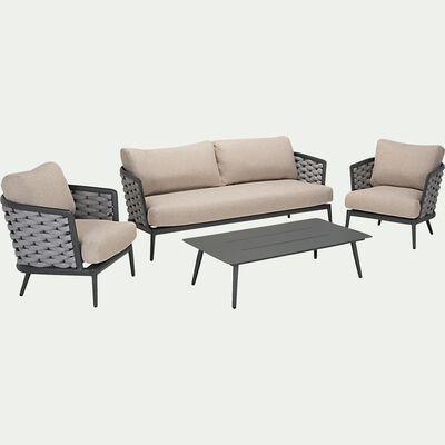 Salon de jardin en aluminium - gris (5 places)-CORDONA