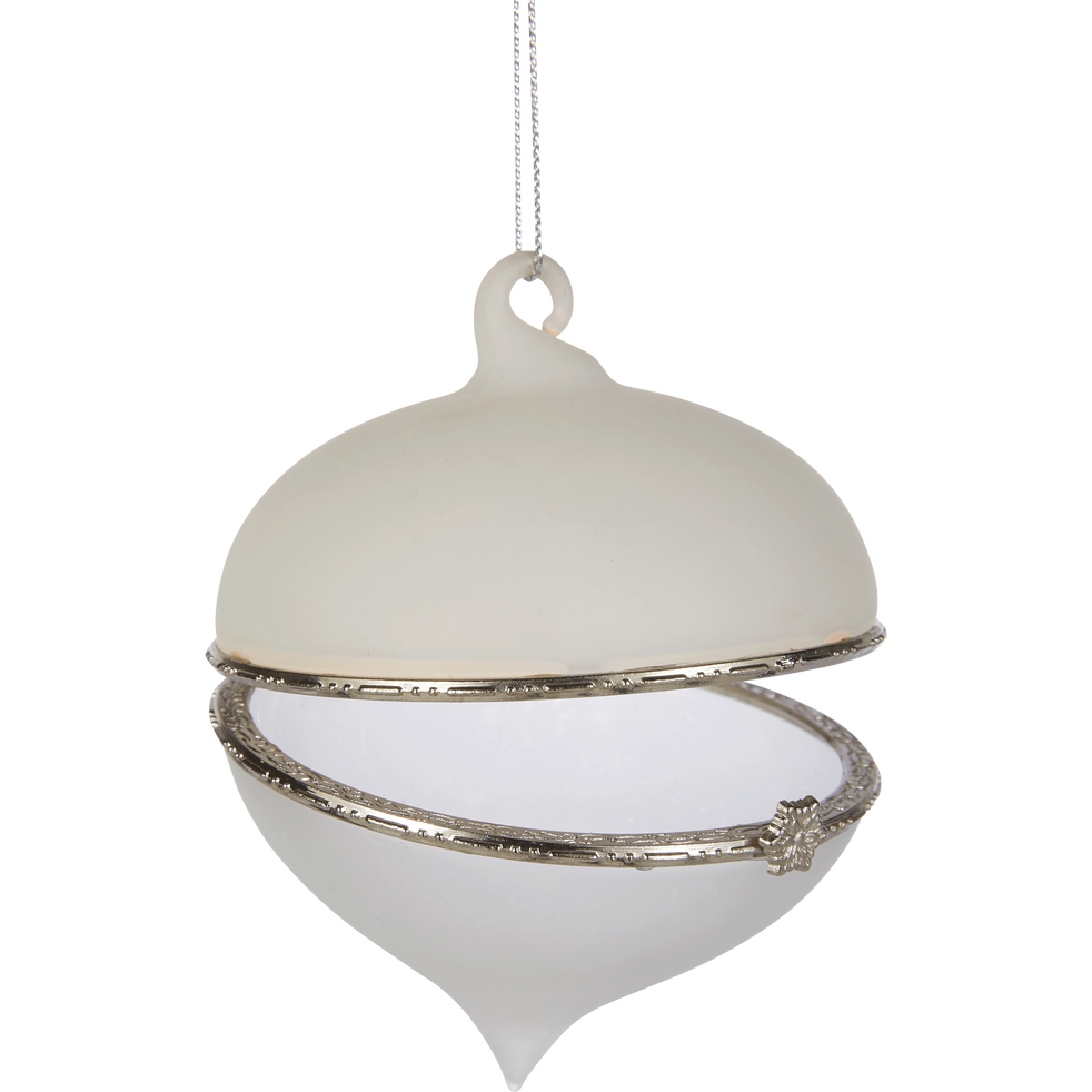 Décoration à suspendre en verre blanc D8cm-ESTER
