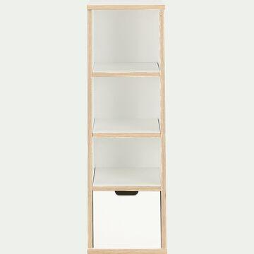 Colonne 3 étagères et un tiroir L34xl34xH104 cm - blanc-MUGEL