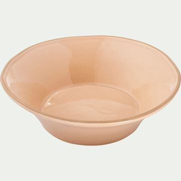 Assiette creuse en faïence rose grège D16cm-LUBERON