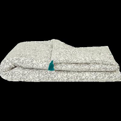 Edredon blanc imprimé noir pompons verts 100X180 cm-ACANTHE