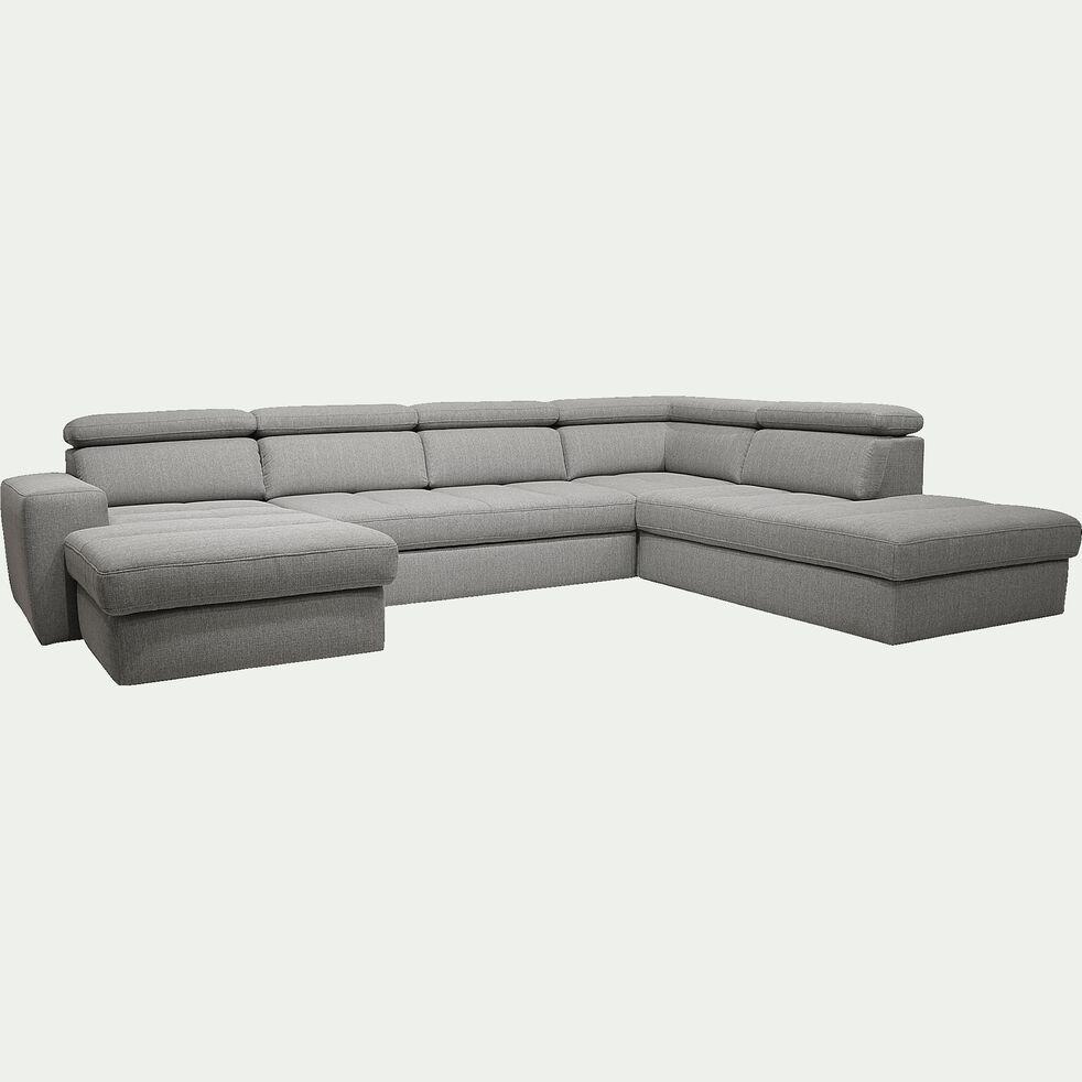 Canapé d'angle en U convertible avec méridienne gauche en tissu - gris clair-TONIN