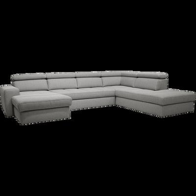 Canapé d'angle en U convertible en tissu gris clair avec méridienne à gauche-TONIN
