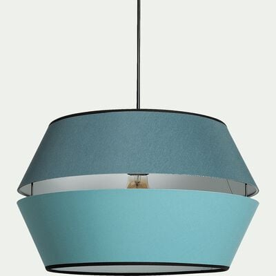 Abat-jour suspension en tissu bleu vert D40cm-CARA
