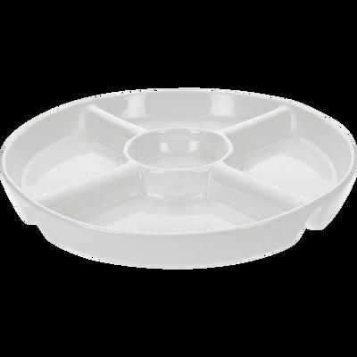 Plat rond 5 compartiments en porcelaine blanche-CONVIV