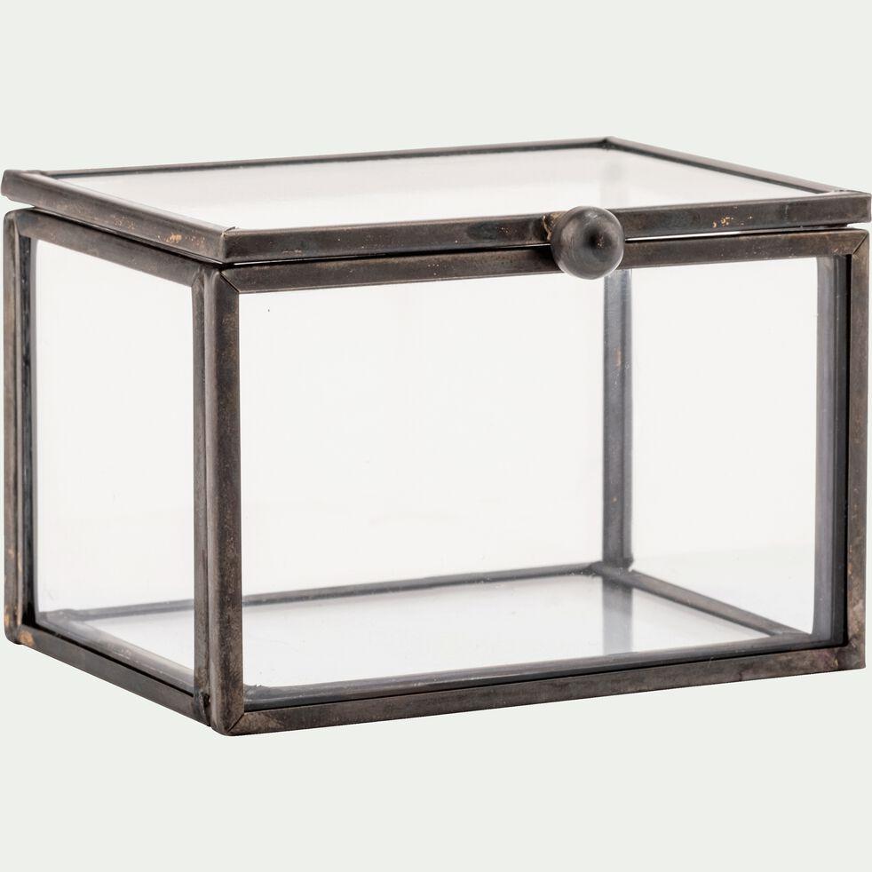 Boîte décorative en verre et fer - noir L8xl6xH5cm-ASTER