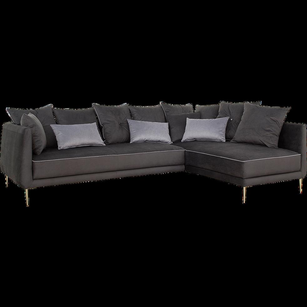 canap d 39 angle fixe droit en tissu noir calabrun astello canap s d 39 angle en tissu alinea. Black Bedroom Furniture Sets. Home Design Ideas