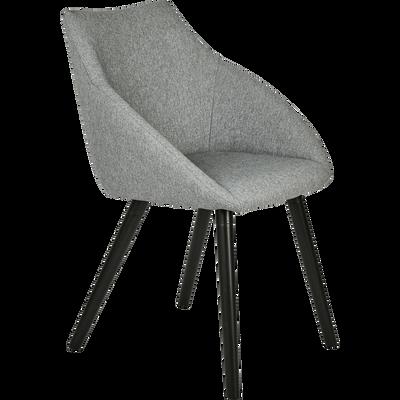 Chaise en tissu gris borie avec accoudoirs-NOELIE