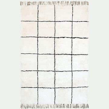 Tapis à motifs carreaux en coton - blanc et noir 160x230cm-LINA