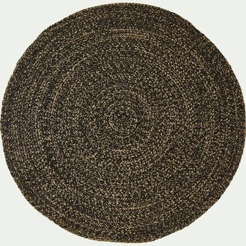 Tapis rond en jute - naturel et noir D120cm-KEMET