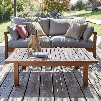 Table basse rectangle en eucalyptus - naturel L120xl80cm-COMODO