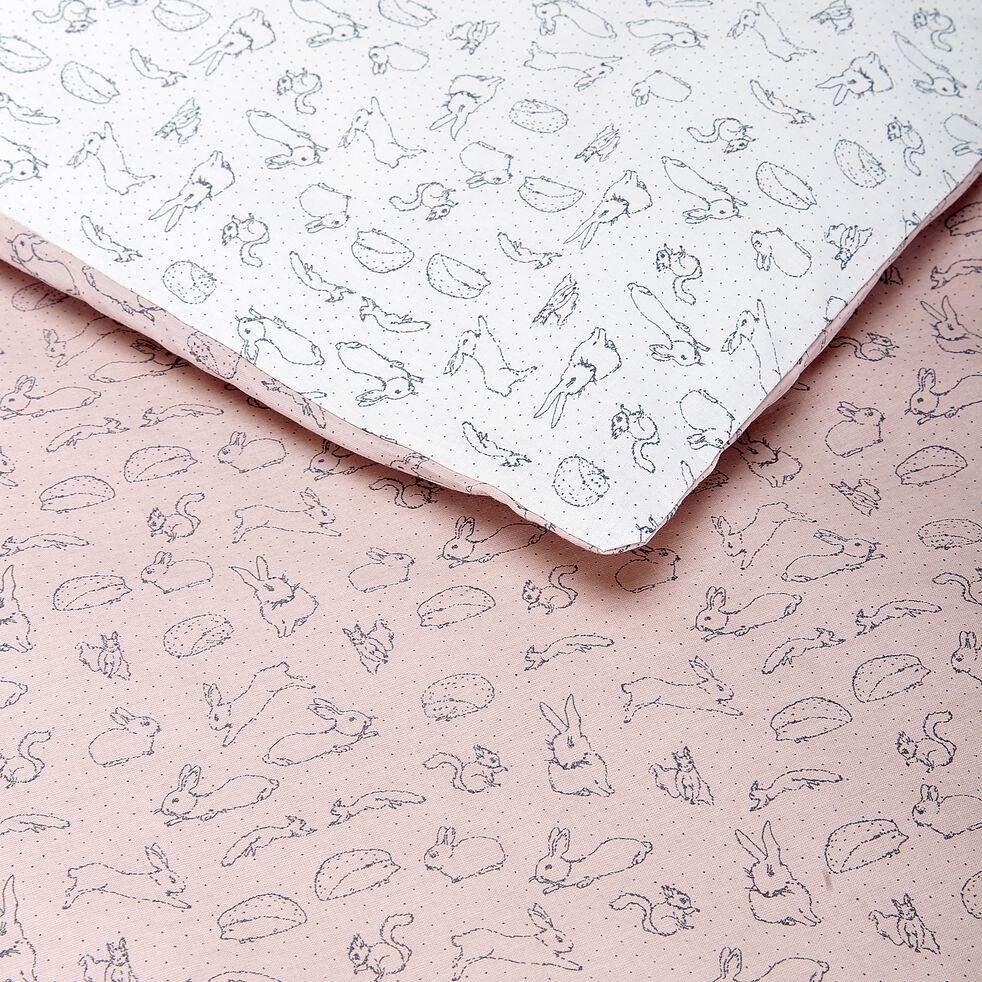 Housse de couette enfant motifs lapins 140x200cm et 1 taie 63x63cm - rose-Bestiaire