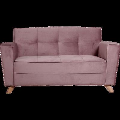 Canapé 2 places fixe en velours rose-VICKY