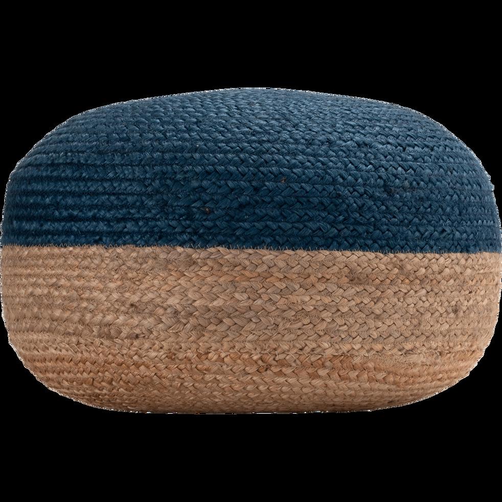 Pouf en jute coloris naturel et bleu myrte 50x50x20cm-NAIA