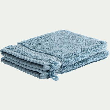 Lot de 2 gants de toilette bouclette en coton - bleu autan-Noun