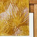 Chemin de table en lin et coton motif feuilles - jaune 50x200cm-DOUM