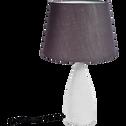 Lampe à poser en béton H57.7cm avec abat-jour lin gris-LAURA