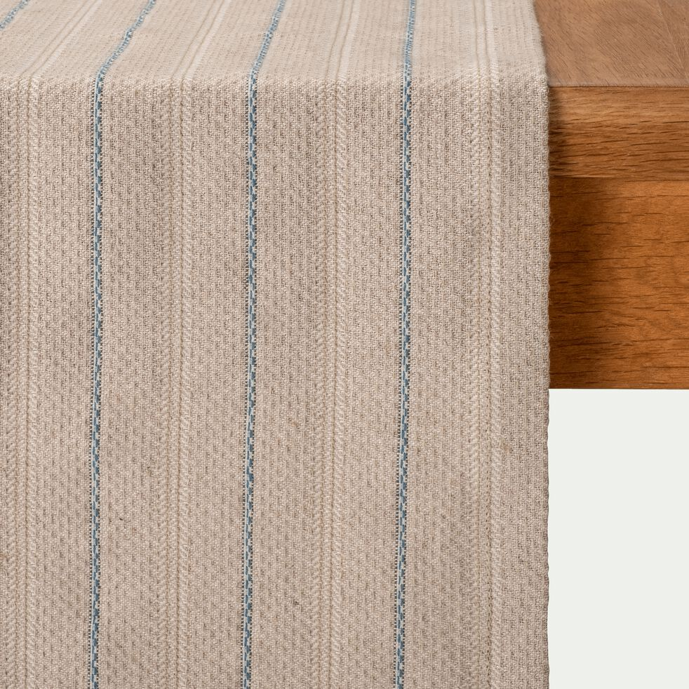 NAIS - Chemin de table en lin et coton à motifs bleu figuerolles 7x17cm
