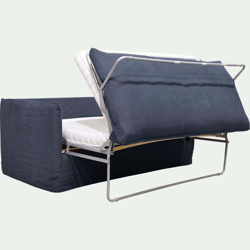 Canapé 3 places convertible en coton et lin - bleu calabrun-KALISTO