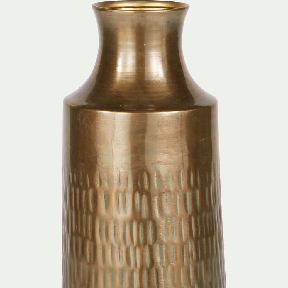 Vase ciselé en laiton - cuivré D15xH45,5cm-CANOPUS
