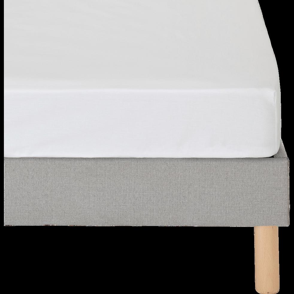 Drap housse en coton blanc 90x200cm bonnet 30cm-CALANQUES