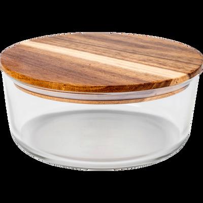 Boîte ronde en verre avec couvercle en bois-SAPAN