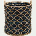 Panier en jacinthe d'eau - bleu myrte D42xH49cm-CROISETTE