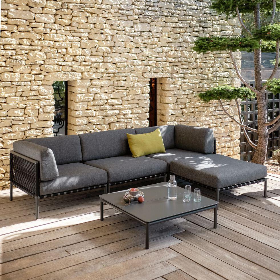 Pouf de jardin en aluminium gris anthracite-ALEX