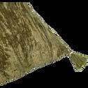 Coussin à pompons en velours vert 30x50cm-ALISTER