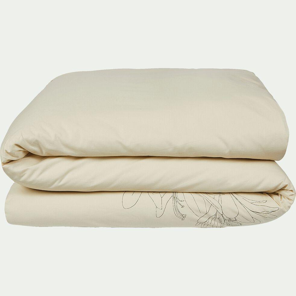 Housse de couette en coton motif Agapanthe - beige 240x220cm-ASTI